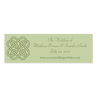 Sage Green Wedding Website Information Cards Double-Sided Mini Business Cards (Pack Of 20)