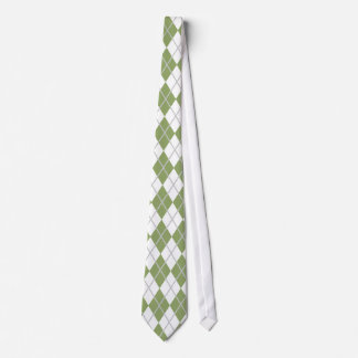 Sage Green & White Argyle Tie