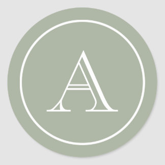 Sage Green & White Block Initial Monogram Classic Round Sticker