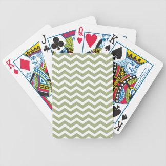 Sage Green White Chevron Pattern Bicycle Playing Cards