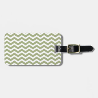 Sage Green White Chevron Pattern Luggage Tag