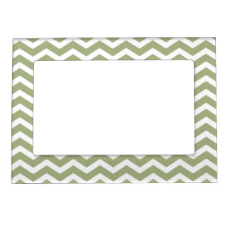 Sage Green White Chevron Pattern Magnetic Picture Frame