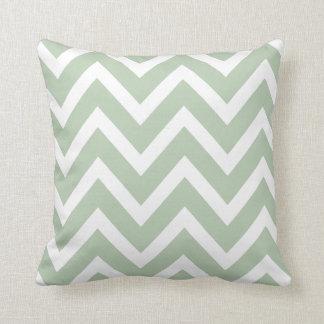Sage Green White Chevron Zigzag Stripes Pillow