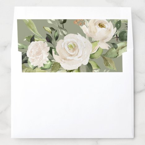 Sage Green White Floral Foliage Watercolor Wedding Envelope Liner