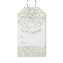 Sage Green White Flower Swirls Easter Gift Tags