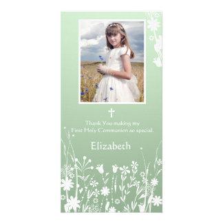 Sage Green, White Flowers, Religious Photo Card
