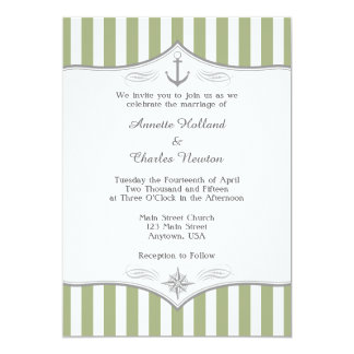 Sage Green White Gray Nautical Wedding Invitation