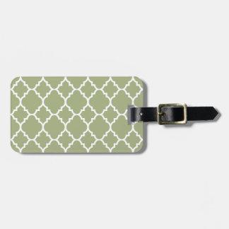 Sage Green White Quatrefoil Moroccan Pattern Bag Tag