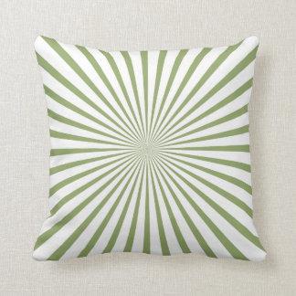 Sage Green & White Radiant Stripes Throw Pillow