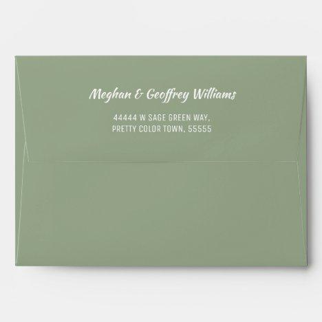 Sage Green White Simple Wedding Return Address Envelope