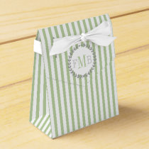 Sage green, white stripes monogram wedding favor box
