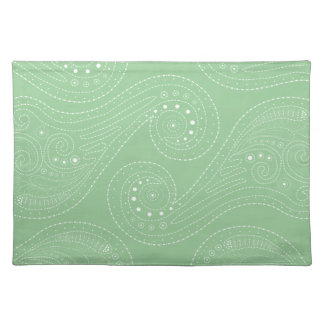 Sage Green & White Swirls Cloth Place Mat