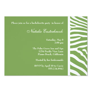 Sage Green Zebra Bachelorette Party Invitation