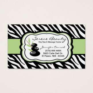 Sage Green Zebra Spa Hot Stones Business Card