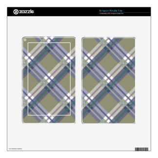 Sage & Grey Checks on Leather Texture Kindle Fire Decal