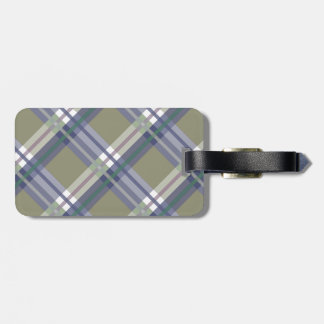 Sage & Grey Checks on Leather Texture Luggage Tag