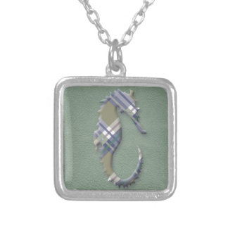 Sage & Grey Checks on Leather Texture Silver Plated Necklace