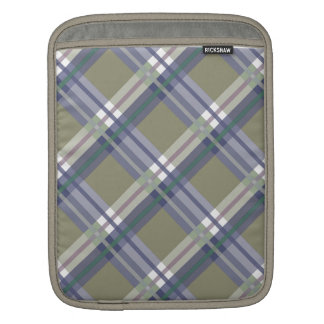 Sage & Grey Checks on Leather Texture Sleeve For iPads