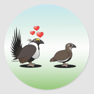 Sage Grouse Love Classic Round Sticker