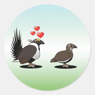 Sage Grouse Love Round Sticker