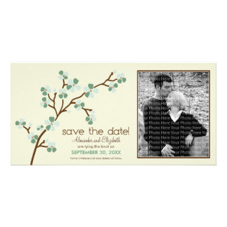 Sage/Ivory Cherry Blossom Save the Date Photocard Card