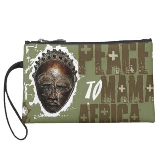 Sage Mama Africa cell phone pouch Suede Wristlet Wallet