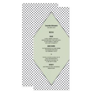 Sage Modern Polka Dots Wedding Menu Card