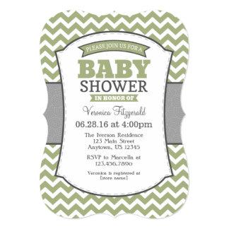 Sage Olive Gray Chevron Baby Shower Invitation