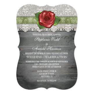 Sage Olive Gray Rustic Wood Rose Wedding Invite