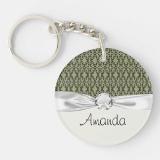 sage olive green and brown ornate damask pattern keychain