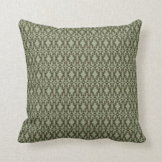 sage olive green and brown ornate damask pattern throw pillows
