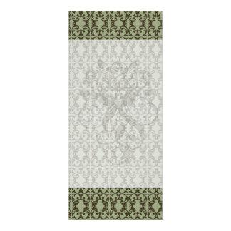 sage olive green and brown ornate damask pattern rack cards