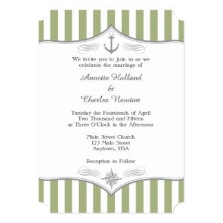 Sage Olive Green Gray Nautical Wedding Invitation