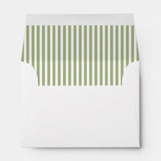 Sage Olive Green Stripe Lined Envelope