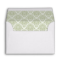 Sage Olive Green White Damask Wedding Envelopes