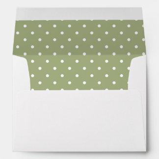 Sage Olive Green White Polka Dot Lined Envelope