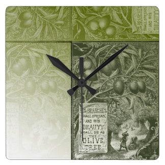 Sage Olive Tree Square Wall Clocks