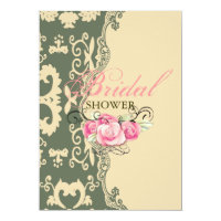 sage paisley vintage western country bridal shower invitation