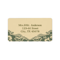 sage paisley vintage western country wedding label