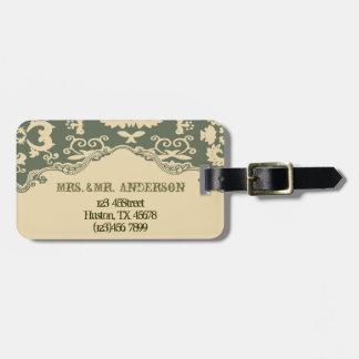 sage paisley vintage western country wedding luggage tag