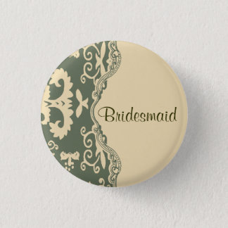 sage paisley western country wedding bridesmaid button