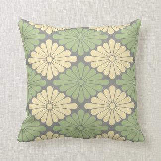 Sage, Pale Yellow Flower Pattern Throw Pillow