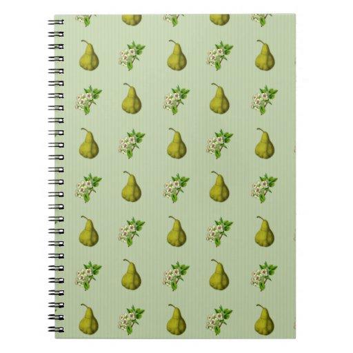 Sage Pear Pattern Notebooks
