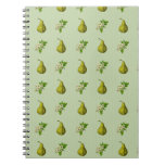 Sage Pear Pattern Spiral Note Books