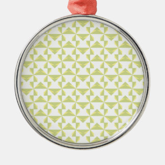 Sage Pinwheels Round Metal Christmas Ornament