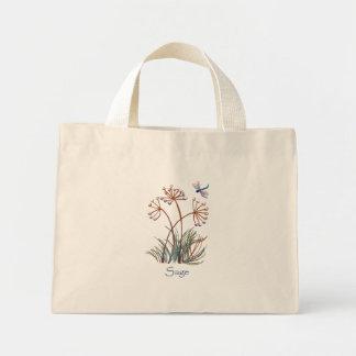 Sage pretty dragonfly mini tote bag