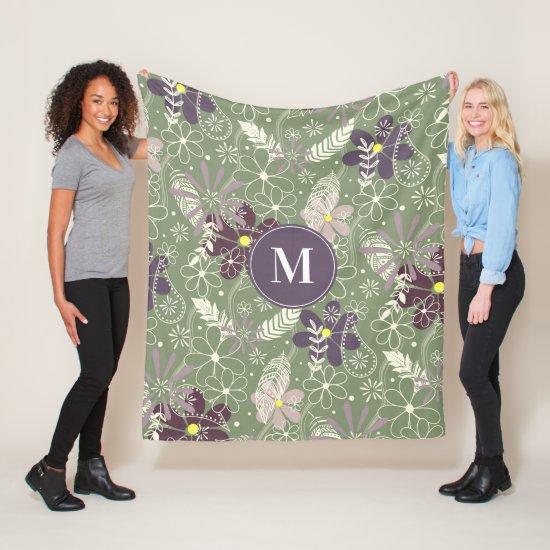 sage purple plum lilac feathers flowers pattern fleece blanket