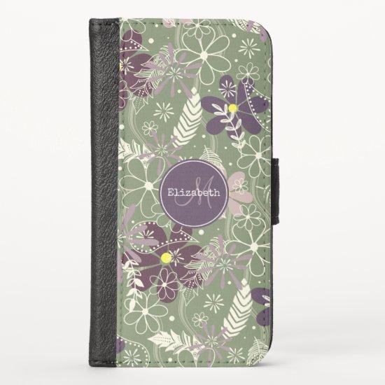 sage purple plum lilac feathers flowers pattern iPhone x wallet case