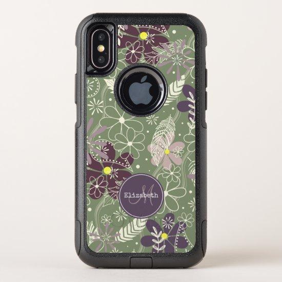 sage purple plum lilac feathers flowers pattern OtterBox commuter iPhone x case