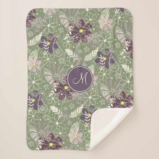 sage purple plum lilac feathers flowers pattern sherpa blanket